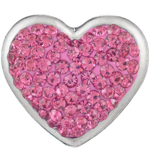 Full Pink Crystal Heart Snap
