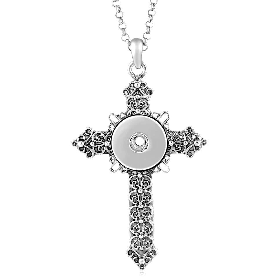 Cross Snap Necklace - Gracie Roze Yourself Expression Snap Jewelry