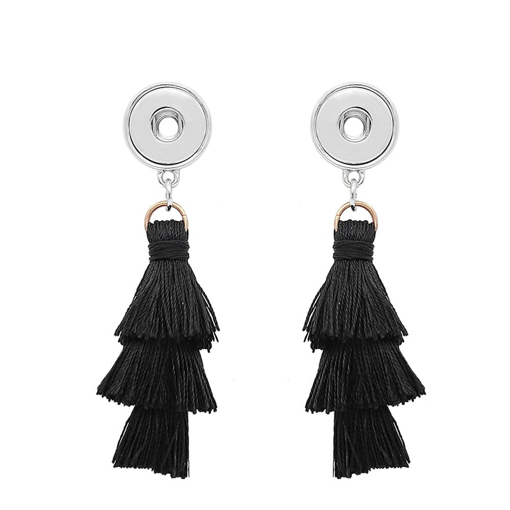 Black Tassel Mini Earrings - Gracie Roze