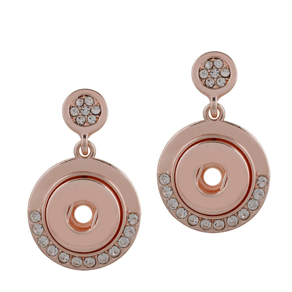 Rose Gold Crescent Crystal Mini Earrings - Gracie Roze