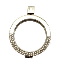 *Reversible Silver Stainless Steel Coin Shel with Chain