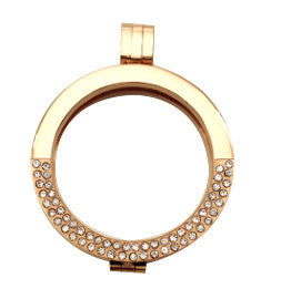*Reversible Rose Gold Stainless Steel Coin Shel with Chain