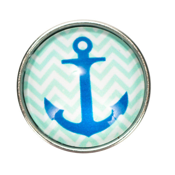 Anchor with Blue Chevron Snap - Gracie Roze Yourself Expression Snap Jewelry