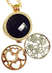 *Hearts,Crystal Gears, And Black Faceted Coin Collection :Choose Rose Gold, Silver, or Gold Shel