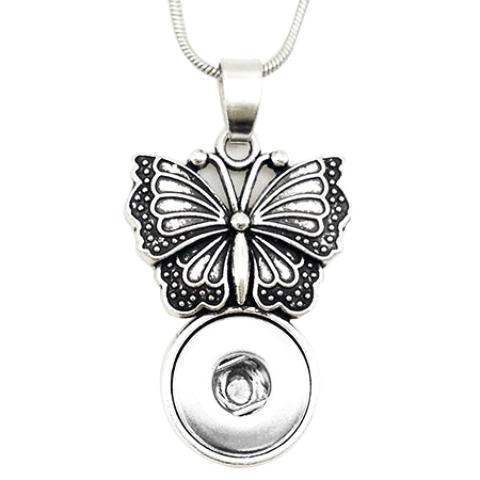 Butterfly Sitting On A Popper Mini Snap Necklace