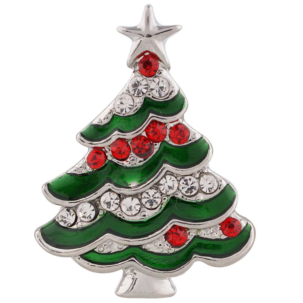 Festive Christmas Tree Metal Snap - Gracie Roze Yourself Expression Snap Jewelry