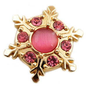 Gold and Pink Snowflake Snap - Gracie Roze Yourself Expression Snap Jewelry