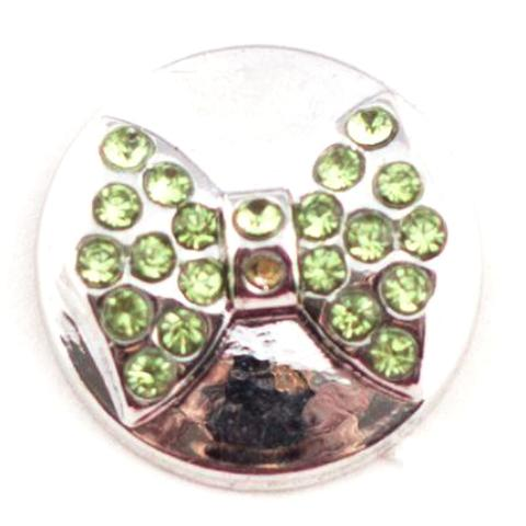 Green Crystal Bow Tie Mini Snap - Gracie Roze Yourself Expression Snap Jewelry