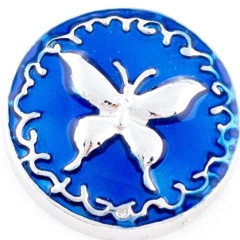 Royal Blue Metal Butterfly snap