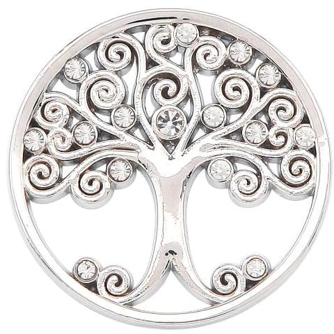 Silver - White Crystal Family Tree Coin - Gracie Roze