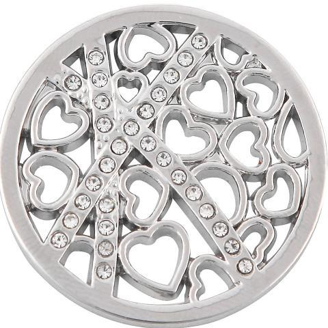 Crisscross Hearts Silver Coin