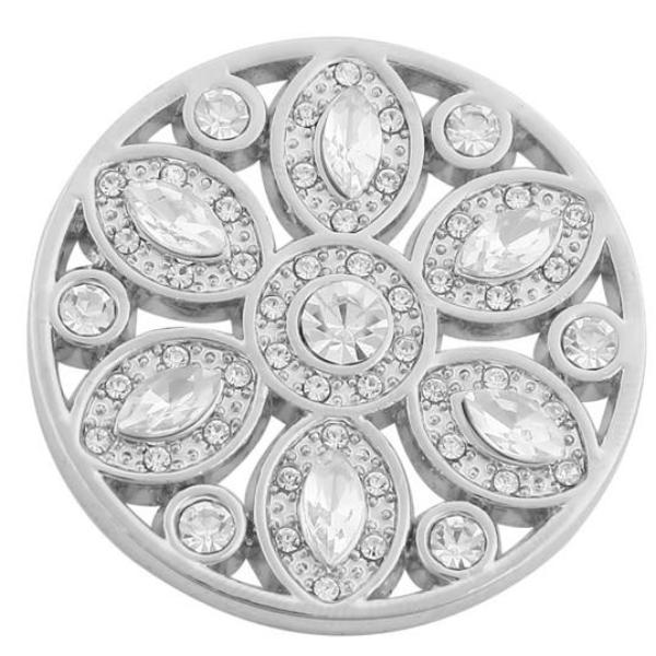 Silver Crystal Elegant Flower Coin - Gracie Roze