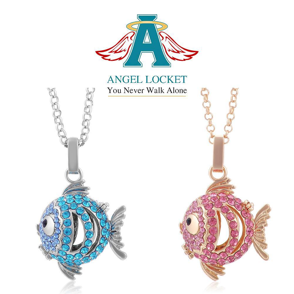 Crystal Fish Angel Locket - Gracie Roze Yourself Expression Snap Jewelry