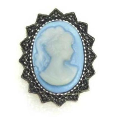 Baby Blue Cameo Popper for Snap Jewelry