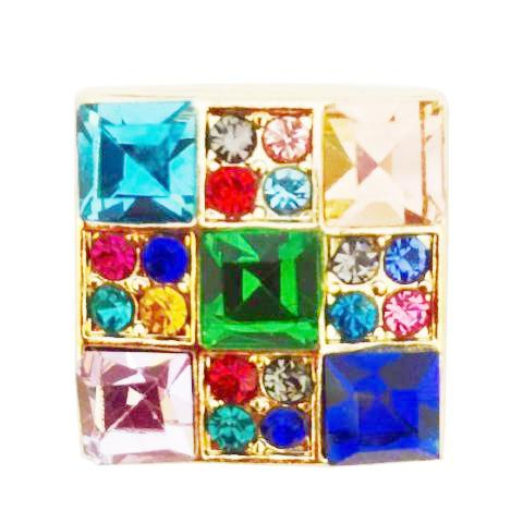 Gold Multi Colored Crystal Square Snap