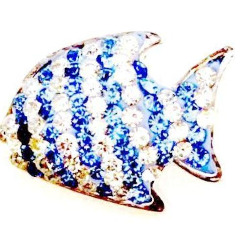 Blue and White Striped Fish Snap - Gracie Roze Yourself Expression Snap Jewelry