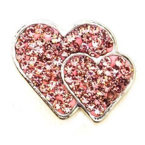 Double Pink Heart Crystals Snap