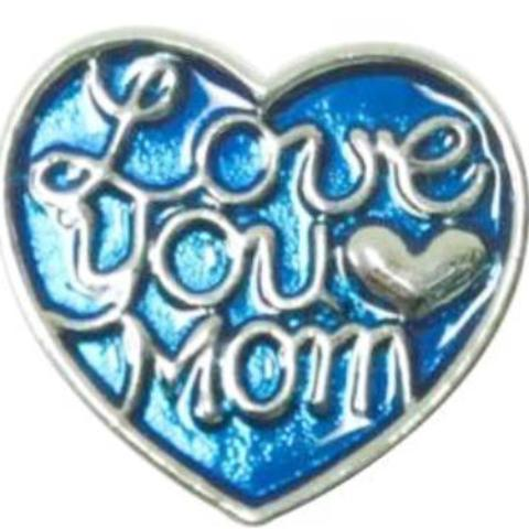 Blue Metal Love You Mom Heart Popper
