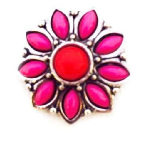 Dark Pink and Red Clay Flower Snap - Gracie Roze