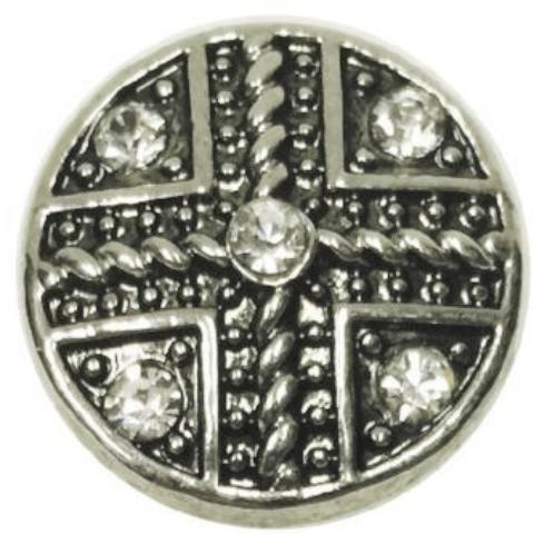 Metal Plus/Cross with White Crystals Popper