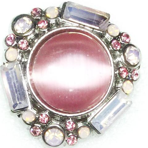 Gloss Pink Stone with Beads and Crystals Popper for Snap Jewelry