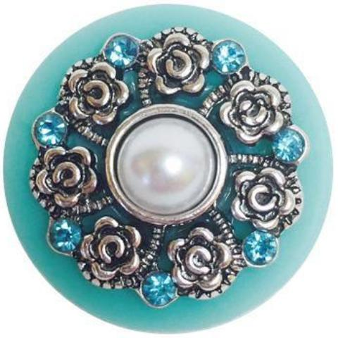 Oversized Aqua Disc with Crystals Popper for Snap Jewelry