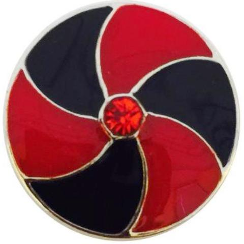 Red and Black Pinwheel Snap