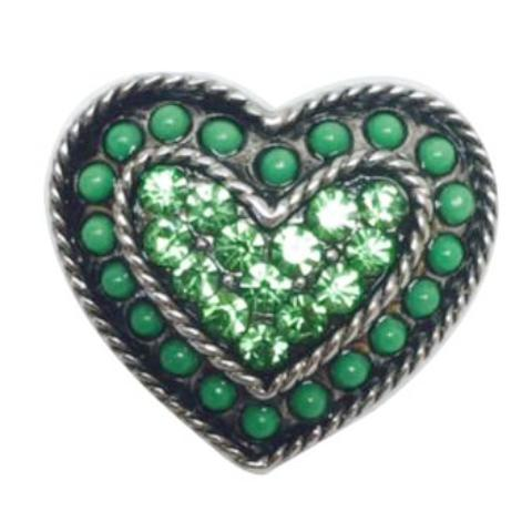 Green Bead and Crystal Heart Popper for Snap Jewelry