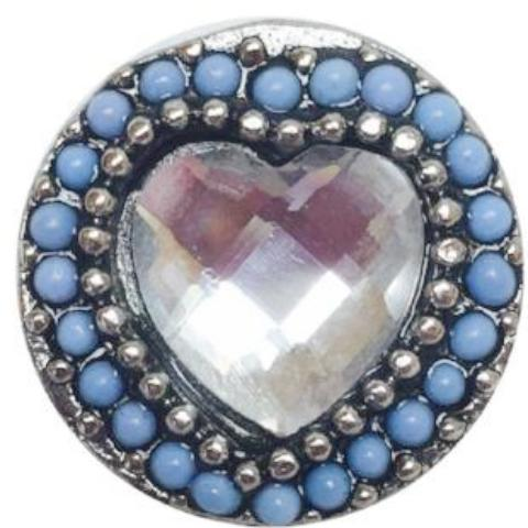 My Heart is Blue Popper for Snap Jewelry