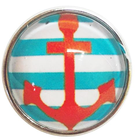 Teal Orange and White Anchor Popper for Snap Jewelry