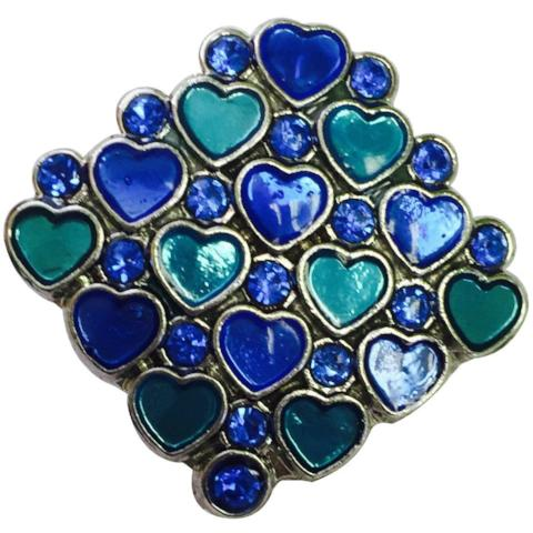 Square Teal and Blue Hearts Snap - Gracie Roze