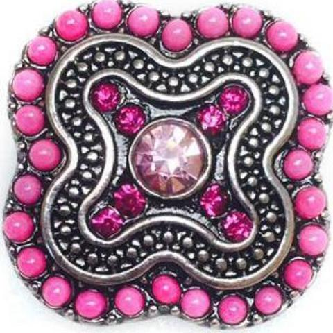 Eclectic Beaded Pink Square Popper for Snap Jewelry