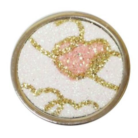 Silver White, Gold and Pink Sparkle Heart Coin - Gracie Roze