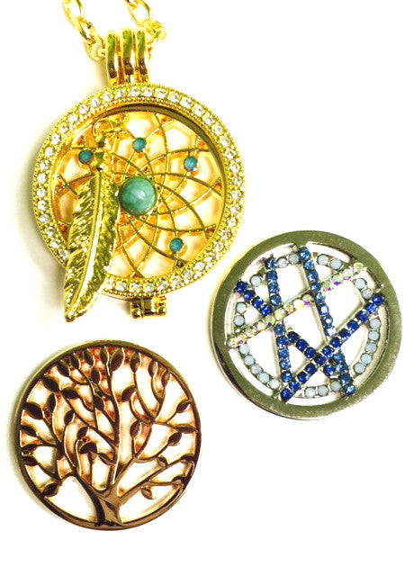 Blue Crisscross, Tree, and Dreamcatcher Coin Set