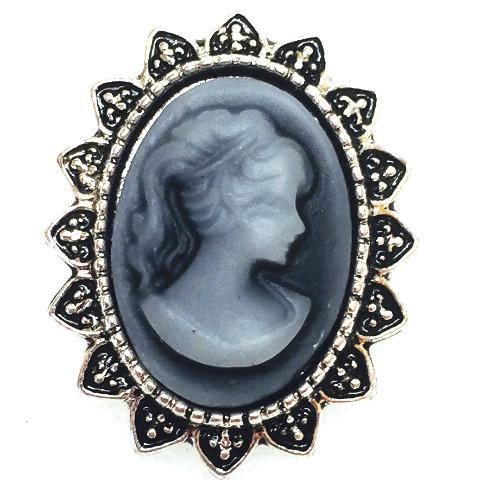 Grey Cameo Popper for Snap Jewelry