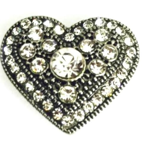 Antique Crystal Heart Snap