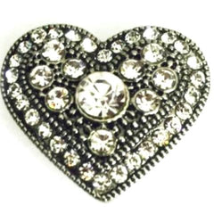 Antique Crystal Heart Popper for Snap Jewelry