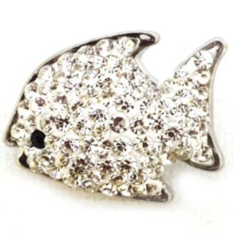 White Crystal Fish Snap - Gracie Roze Yourself Expression Snap Jewelry