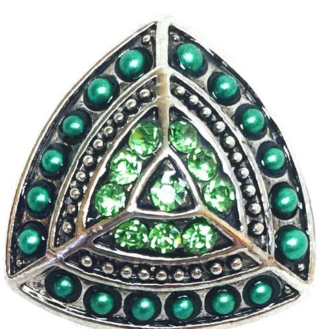 Green Triangle Bead and Crystal Popper for Snap Jewelry