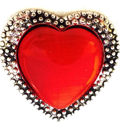 Silver Red Stone Heart Snap