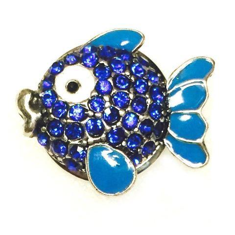 Blue Crystal Fishy Face Popper for Snap Jewelry