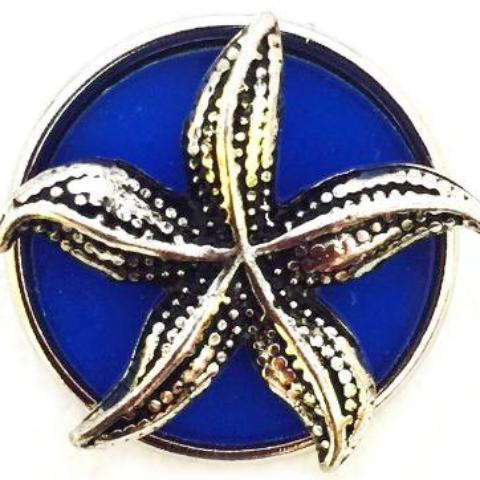 Royal Blue and Silver Starfish Snap