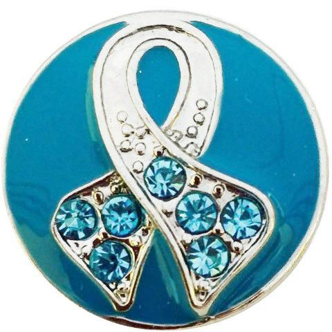 Teal Ribbon Awareness Snap - Gracie Roze Yourself Expression Snap Jewelry