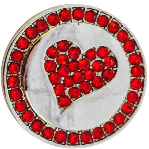 Silver and Red Heart Crystal snap