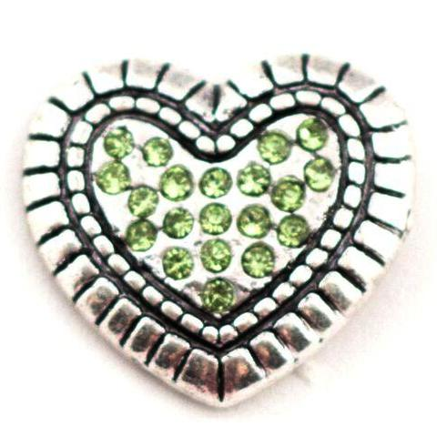 Green Crystal Heart Mini Snap - Gracie Roze Yourself Expression Snap Jewelry