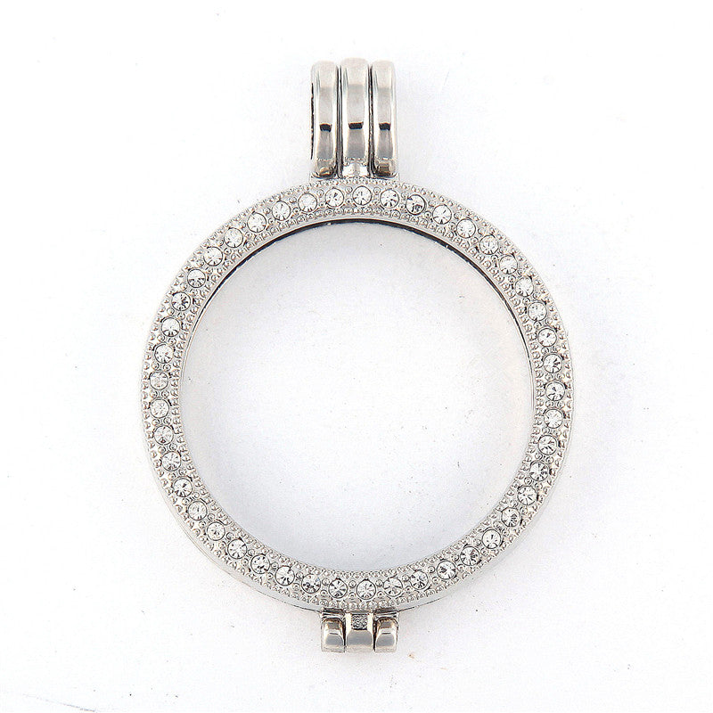 Pave Silver Coin Holder
