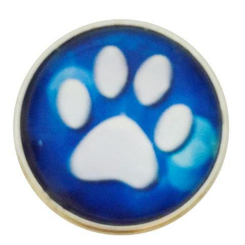 Blue and White Paw Snap - Gracie Roze Yourself Expression Snap Jewelry