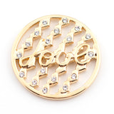 Gold Crystal Love Coin for Coin Lockets