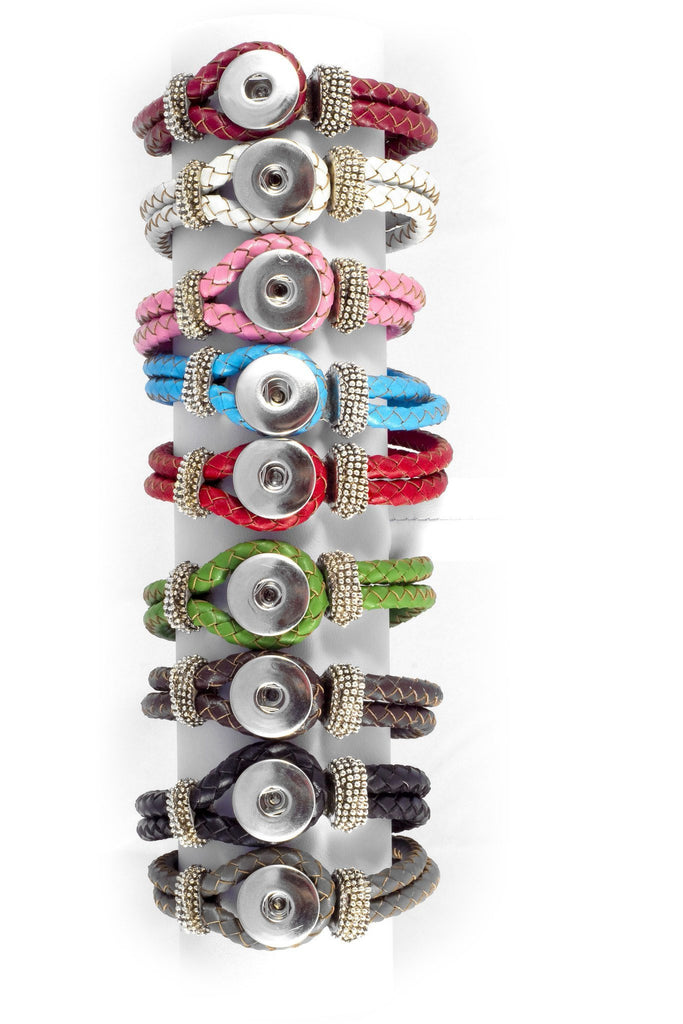 Leather Beaded Multi Colors Snap Bracelet