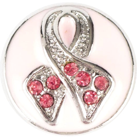 Breast Cancer Pink Crystal Snap - Gracie Roze Yourself Expression Snap Jewelry